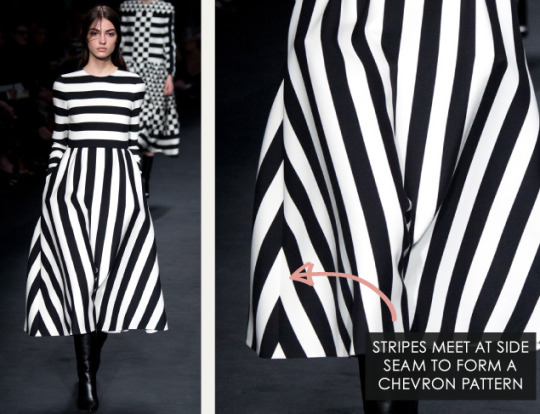 Geometric Monochrome at Valentino |The Cutting Class. Valentino, AW15, Paris, Image 2. Stripes meet to form a chevron pattern at side seam.