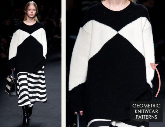 Geometric Monochrome at Valentino |The Cutting Class. Valentino, AW15, Paris, Image 4. Geometric knitwear patterns.