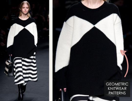 Geometric Monochrome at Valentino |The Cutting Class. Valentino, AW15, Paris, Image 4. Geometric knitwear patterns.