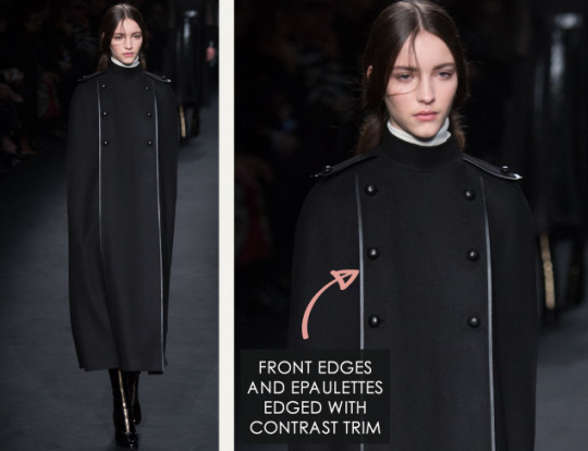 Geometric Monochrome at Valentino |The Cutting Class. Valentino, AW15, Paris, Image 7. Front edges and epaulettes edged with contrast trim.