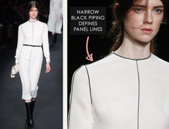 Geometric Monochrome at Valentino |The Cutting Class. Valentino, AW15, Paris, Image 9. Narrow piping defines panel lines.
