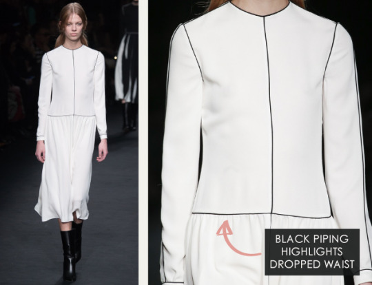 Geometric Monochrome at Valentino |The Cutting Class. Valentino, AW15, Paris, Image 10. Black piping highlights dropped waist.