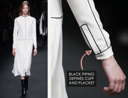 Geometric Monochrome at Valentino |The Cutting Class. Valentino, AW15, Paris, Image 11. Black piping defines cuff and placket.