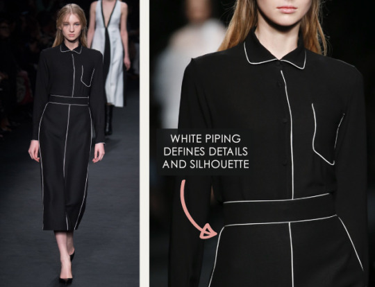 Geometric Monochrome at Valentino |The Cutting Class. Valentino, AW15, Paris, Image 13. White piping defines details and silhouette.
