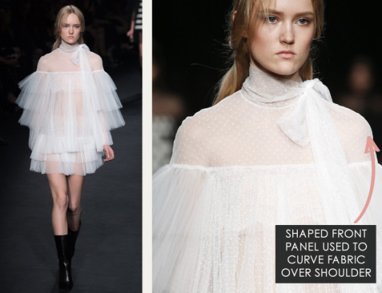 Geometric Monochrome at Valentino |The Cutting Class. Valentino, AW15, Paris, Image 14. Shaped front panel used to curve fabric over shoulder.