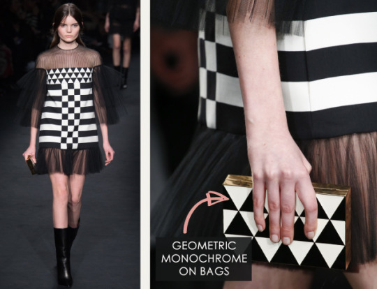 Geometric Monochrome at Valentino |The Cutting Class. Valentino, AW15, Paris, Image 15. Geometric monochrome on bags.