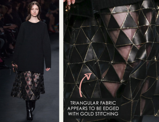 Geometric Monochrome at Valentino |The Cutting Class. Valentino, AW15, Paris, Image 17. Triangular fabric appears to be edged with gold stitching.