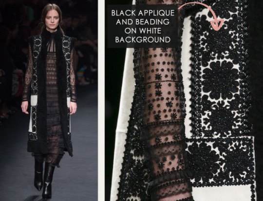 Geometric Monochrome at Valentino |The Cutting Class. Valentino, AW15, Paris, Image 20. Black appliqué and beading on white background.