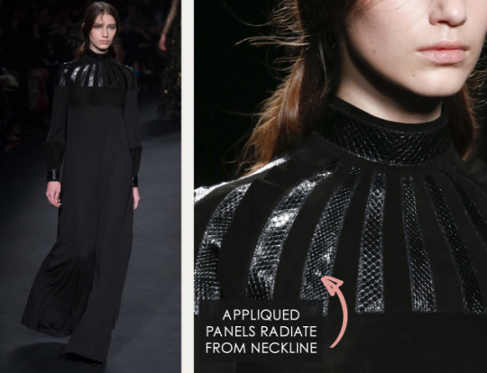 Geometric Monochrome at Valentino |The Cutting Class. Valentino, AW15, Paris, Image 21. Appliquéd panels radiate from neckline.