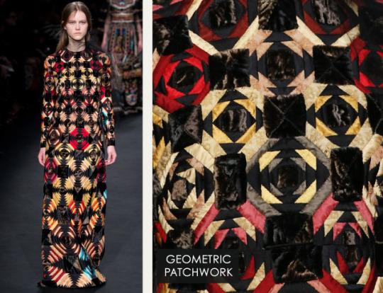 Geometric Monochrome at Valentino |The Cutting Class. Valentino, AW15, Paris, Image 26. Geometric patchwork.
