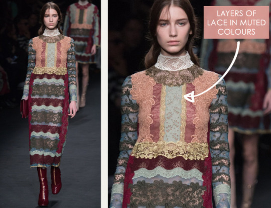 Lace, Feathers and Muted Tones at Valentino. Valentino, AW15, Paris, Image 1. Layers of lace in muted colours.