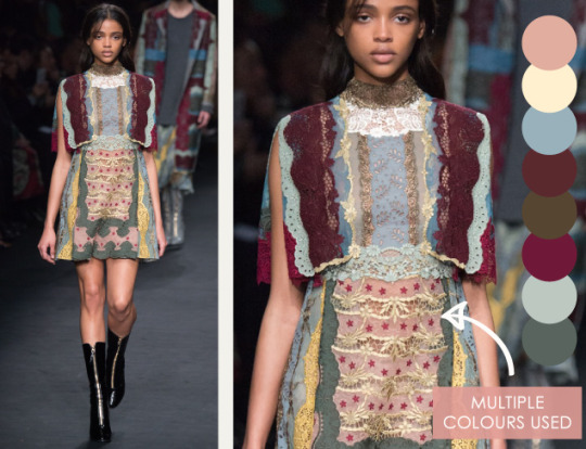 Lace, Feathers and Muted Tones at Valentino. Valentino, AW15, Paris, Image 3. Multiple colours used.