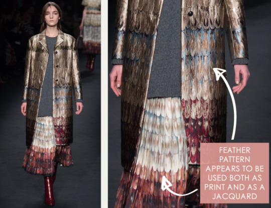 Lace, Feathers and Muted Tones at Valentino. Valentino, AW15, Paris, Image 6. Feather pattern appears to be used both as print and as a jacquard.