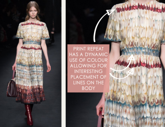 Lace, Feathers and Muted Tones at Valentino. Valentino, AW15, Paris, Image 7. Print repeat has strong lines of colour.