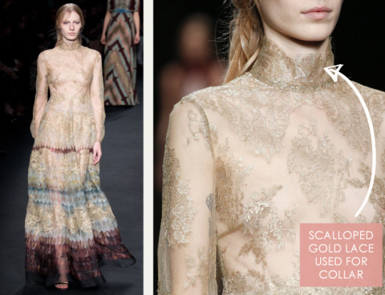 Lace, Feathers and Muted Tones at Valentino. Valentino, AW15, Paris, Image 8. Scalloped gold lace used for collar.