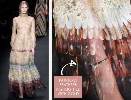 Lace, Feathers and Muted Tones at Valentino. Valentino, AW15, Paris, Image 9. Painterly feathers highlighted with gold.