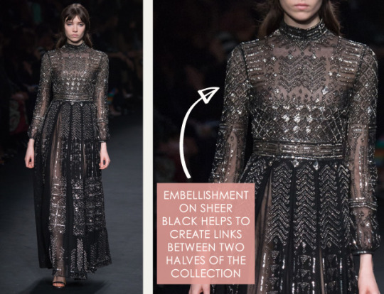 Lace, Feathers and Muted Tones at Valentino. Valentino, AW15, Paris, Image 15. Embellishment on sheer black.