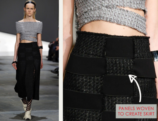 Slits and Peeling Layers at Proenza Schouler | The Cutting Class. Proenza Schouler, AW15, New York, Image 2. Panels woven to create skirt.