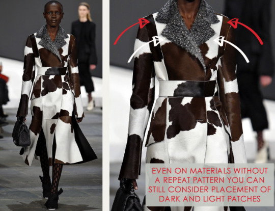 Slits and Peeling Layers at Proenza Schouler   The Cutting Class. Proenza Schouler, AW15, New York, Image 3. Placement of light and dark patches on materials without repeat patterns.