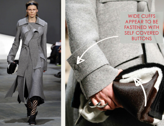 Slits and Peeling Layers at Proenza Schouler | The Cutting Class. Proenza Schouler, AW15, New York, Image 5. Wide cuffs appear to be fastened with self covered buttons.