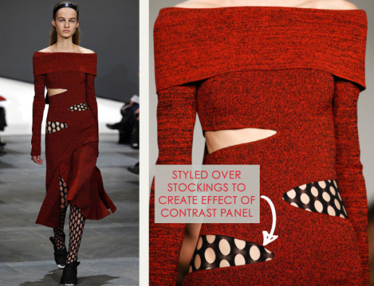 Slits and Peeling Layers at Proenza Schouler   The Cutting Class. Proenza Schouler, AW15, New York, Image 7. Styled over stockings to create effect of contrast panel.