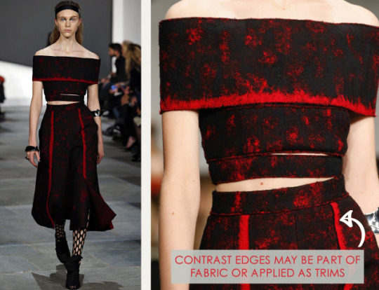 Slits and Peeling Layers at Proenza Schouler | The Cutting Class. Proenza Schouler, AW15, New York, Image 11. Contrast edges may be part of fabric or applied as trims.