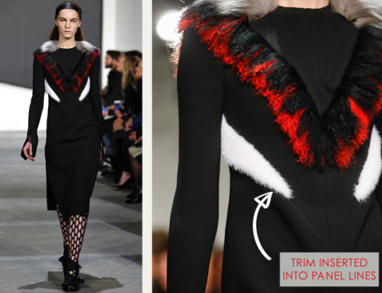 Slits and Peeling Layers at Proenza Schouler   The Cutting Class. Proenza Schouler, AW15, New York, Image 13. Trims inserted into panel lines.