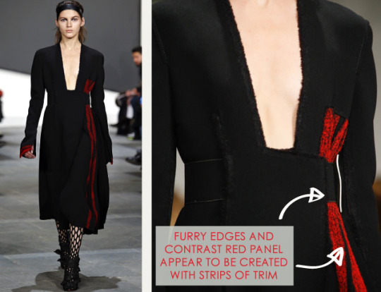 Slits and Peeling Layers at Proenza Schouler | The Cutting Class. Proenza Schouler, AW15, New York, Image 14. Furry edges and contrast red panel appear to be created with strips of trim.