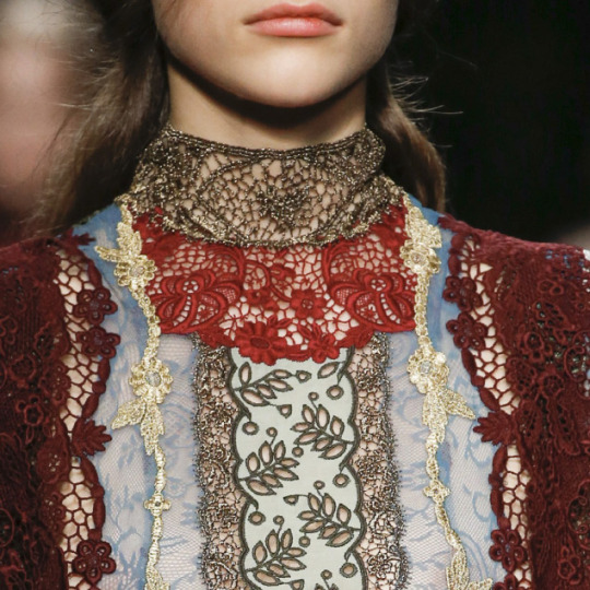 Lace, Feathers and Muted Tones at Valentino. Valentino, AW15, Paris.