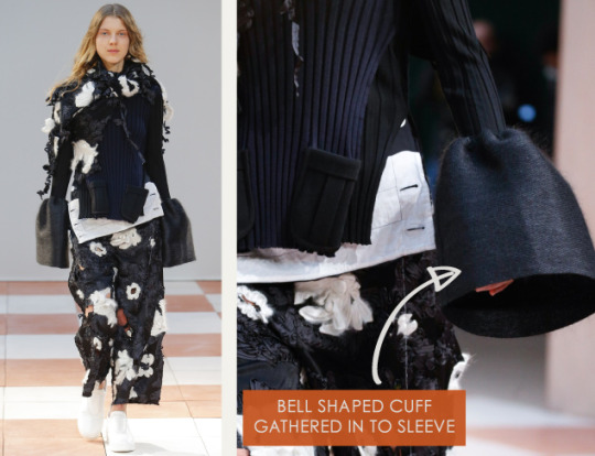 Nonchalant Construction Details at Céline | The Cutting Class. Céline, AW15, Paris, Image 3. Bell shaped cuff gathered in to sleeve.