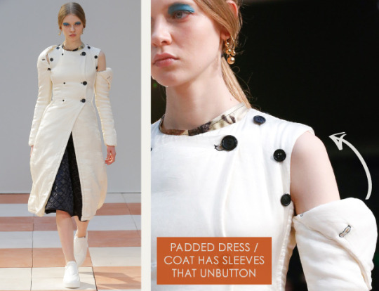 Nonchalant Construction Details at Céline | The Cutting Class. Céline, AW15, Paris, Image 22. Padded dress / coat has sleeves that unbutton.