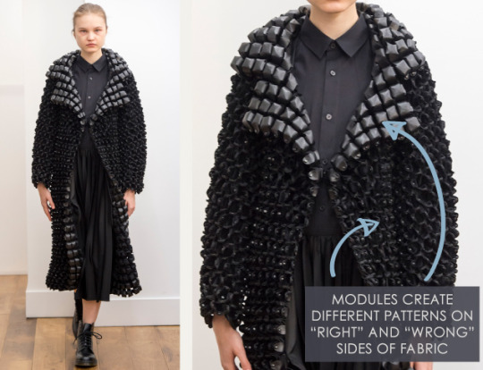 Smocking, Macramé and Modular Patterns at Noir Kei Ninomiya | The Cutting Class. noir kei ninomiya, AW15, Paris, Image 2. Modules create different patterns on right and wrong sides of fabric.