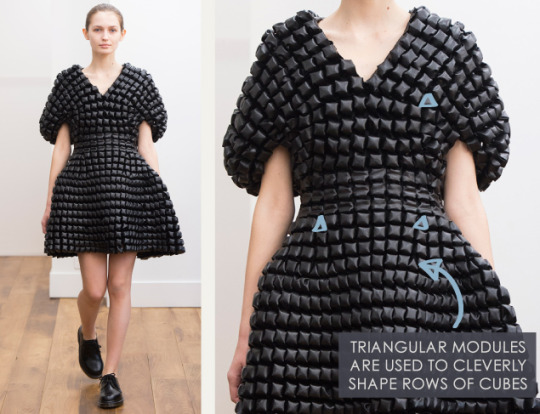 Smocking, Macramé and Modular Patterns at Noir Kei Ninomiya | The Cutting Class. noir kei ninomiya, AW15, Paris, Image 3. Triangular modules are sued to cleverly shape rows of cubes.