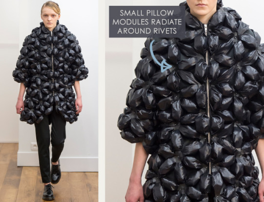 Smocking, Macramé and Modular Patterns at Noir Kei Ninomiya | The Cutting Class. noir kei ninomiya, AW15, Paris, Image 4. Small pillow modules radiate around rivets.