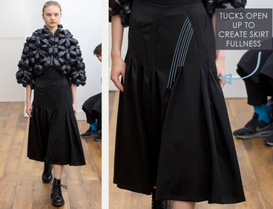 Smocking, Macramé and Modular Patterns at Noir Kei Ninomiya | The Cutting Class. noir kei ninomiya, AW15, Paris, Image 5. Tucks open up to create skirt fullness.