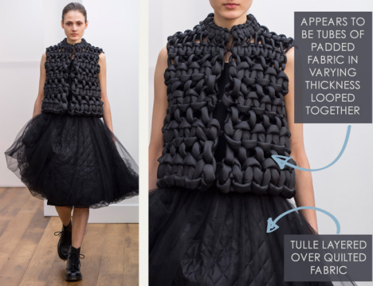 Smocking, Macramé and Modular Patterns at Noir Kei Ninomiya | The Cutting Class. noir kei ninomiya, AW15, Paris, Image 6. Appears to be tubes of padded fabric in varying thicknesses.
