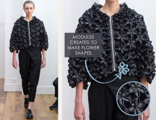 Smocking, Macramé and Modular Patterns at Noir Kei Ninomiya | The Cutting Class. noir kei ninomiya, AW15, Paris, Image 9. Modules created to make flower shapes.