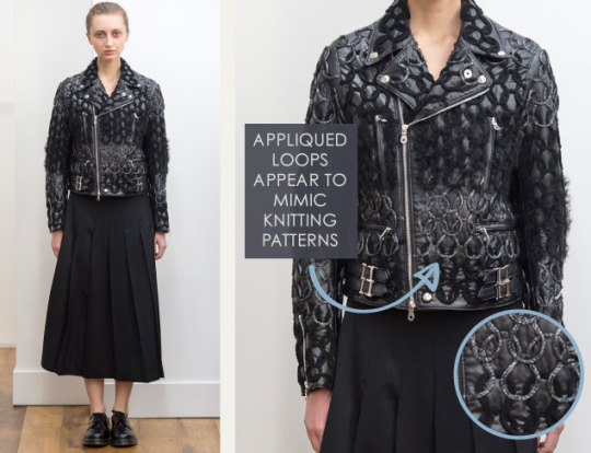 Smocking, Macramé and Modular Patterns at Noir Kei Ninomiya | The Cutting Class. noir kei ninomiya, AW15, Paris, Image 11. Appliquéd loops appear to mimic knitting patterns.