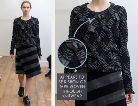 Smocking, Macramé and Modular Patterns at Noir Kei Ninomiya | The Cutting Class. noir kei ninomiya, AW15, Paris, Image 13. Appears to be ribbon or tape woven through knitwear.