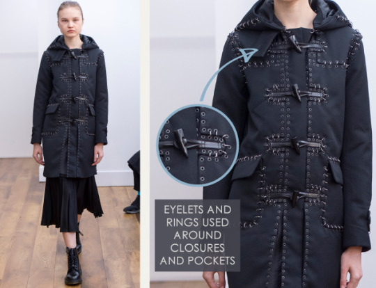 Smocking, Macramé and Modular Patterns at Noir Kei Ninomiya | The Cutting Class. noir kei ninomiya, AW15, Paris, Image 14. Eyelets and rings are used around toggle closures and pockets.