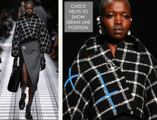 Pattern Shaping at Balenciaga | The Cutting Class. Balenciaga, AW15, Paris, Image 3. Check helps to show grain line position.