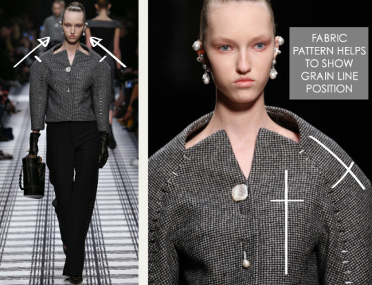 Pattern Shaping at Balenciaga | The Cutting Class. Balenciaga, AW15, Paris, Image 4. Fabric pattern helps to show grain line position.