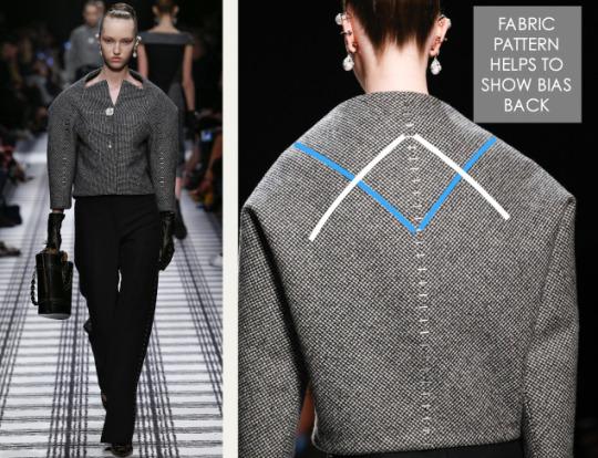 Pattern Shaping at Balenciaga | The Cutting Class. Balenciaga, AW15, Paris, Image 5. Fabric pattern helps to show bias back.