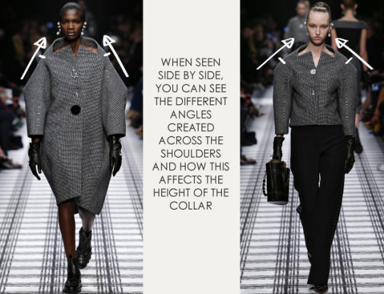 Pattern Shaping at Balenciaga | The Cutting Class. Balenciaga, AW15, Paris, Image 7. When seen side by side, you can see the different angles created across the shoulders.
