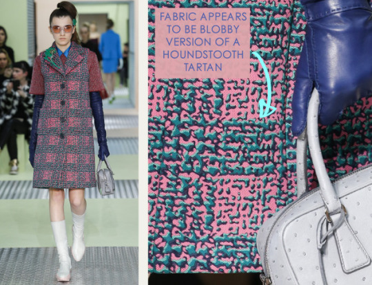 Spongy Synthetics at Prada | The Cutting Class. Prada, AW15, Milan, Image 10. Fabric appears to be blobby version of a houndstooth tartan.