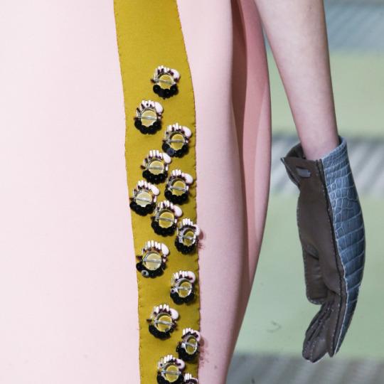 Spongy Synthetics at Prada | The Cutting Class. Prada, AW15, Milan, Image 12. Embellishment and appliqué.