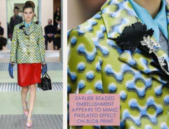 Spongy Synthetics at Prada | The Cutting Class. Prada, AW15, Milan, Image 13. Pixelated blob effect on print.