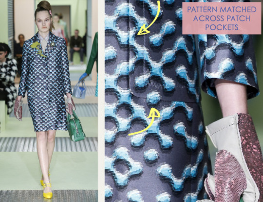 Spongy Synthetics at Prada | The Cutting Class. Prada, AW15, Milan, Image 14. Pattern matched across patch pockets.