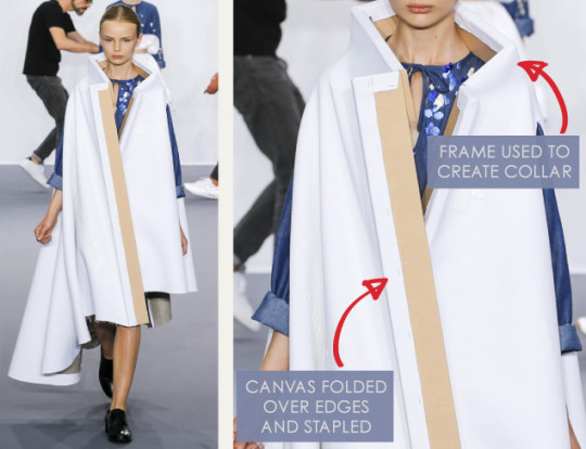 Balancing Frames and Canvas at Viktor & Rolf | The Cutting Class. Viktor & Rolf, Couture, AW15, Paris, Image 3. Frame used to create collar. Canvas edge stapled.