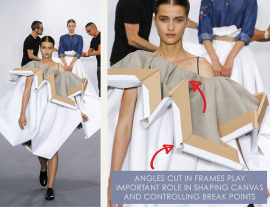 Balancing Frames and Canvas at Viktor & Rolf | The Cutting Class. Viktor & Rolf, Couture, AW15, Paris, Image 5. Angles cut in frames shape canvas and control break points.